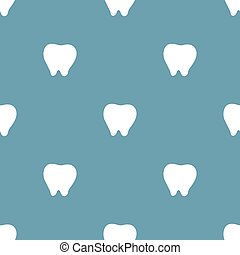 Seamless pattern with white tooth icon on blue background. Dentist concept. Vector illustration for design, web, wrapping paper, fabric, wallpaper.