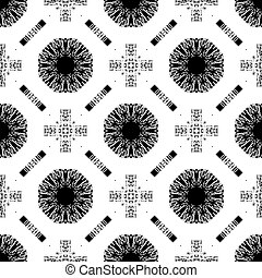 Seamless pattern with white tracery on a black