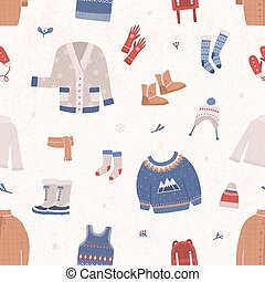 Seamless pattern with winter clothes and outerwear on light...