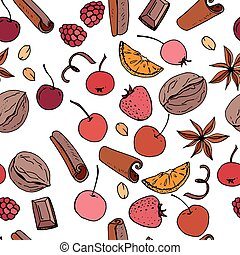 Seamless pattern with winter fruits and berries - apple, spice and nuts. Endless texture.