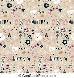 Seamless pattern with winter garden