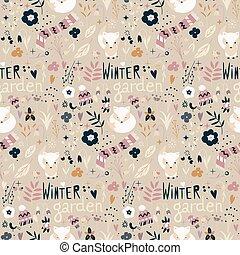 Seamless pattern with winter garden