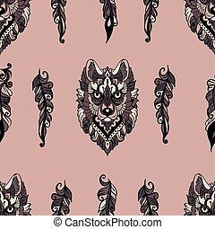 pattern with wolf and feathers