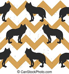 Seamless pattern with wolf.
