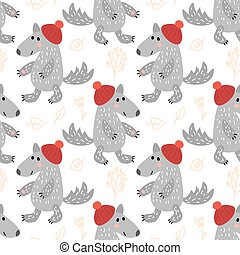 Seamless pattern with wolf