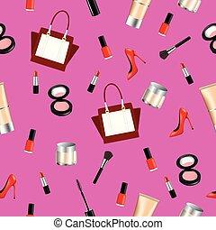 Seamless pattern with woman dress, handbag and makeup