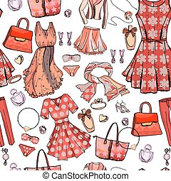 Seamless pattern with woman dresses, underwear, bra, accessories, jewel, bags. Endless texture for fashion design. Objects on white ,beige and light blue color. Romantic and glamour style.