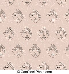 pattern with woman face