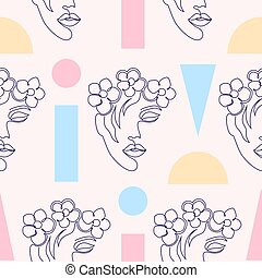 pattern with woman faces