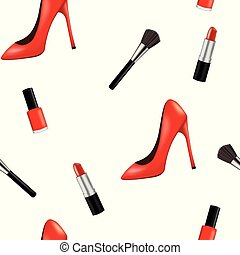 Seamless pattern with woman shoe and makeup