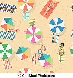 Seamless pattern with women in bikini sunbathe on the beach. Cartoon style vector background