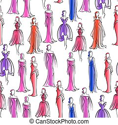 Seamless pattern with women in evening dresses
