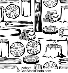 Seamless pattern with wood logs, trunks and planks. Background for forestry and lumber industry