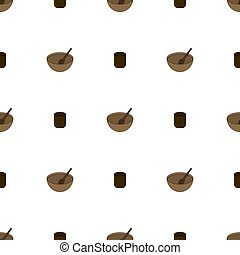Seamless pattern with wooden bowl and cup on white background. Medieval crockery for adventure. Vector illustration.