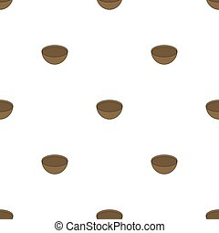 Seamless pattern with wooden bowl on white background. Medieval crockery for adventure. Vector illustration.