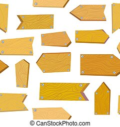 Seamless pattern with wooden signs illustration