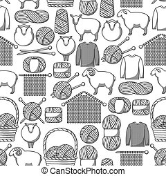Seamless pattern with wool items. Goods for hand made, knitting or tailor shop