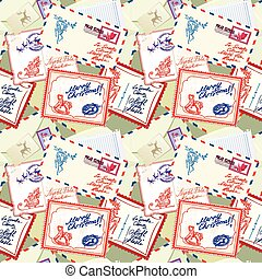 Seamless pattern with xmas stamps, envelops, labels, cards, hand written texts, Christmas and New Year postage background for winter holidays design.