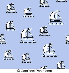 Seamless pattern with yacht