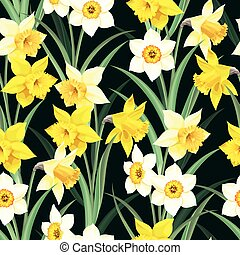 Seamless pattern with yellow and white daffodil