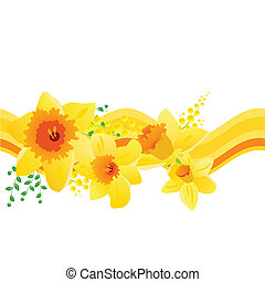 Seamless pattern with yellow daffodils