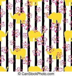 pattern with yellow elephants
