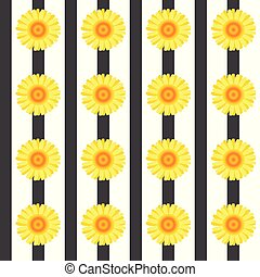 Seamless pattern with yellow flowers and black stripes.eps