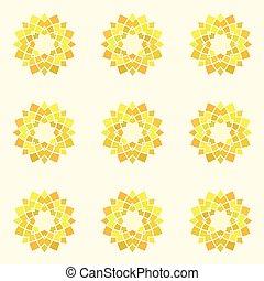 Seamless pattern with yellow mandala.