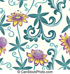 seamless pattern with yellow passionflowers
