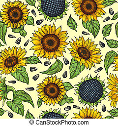 Seamless pattern with yellow sunflowers. Vector illustration