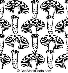 zentangle amanita mushrooms - Seamless pattern with...