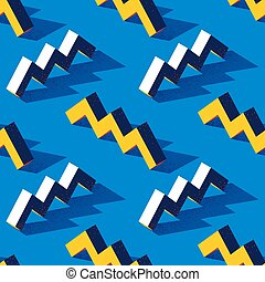 Seamless pattern with zigzag or torus shape on blue background in modern dotted texture style. Fabric, wrapper or wallpaper print in stylized retro flat trend