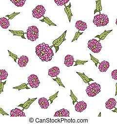 Seamless pattern with zinnia