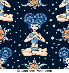 Seamless Pattern With Zodiac Aries Girl Vector Sign.