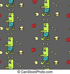 seamless pattern with zombies and brain