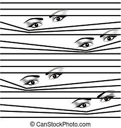 seamless pattern Woman hidden eyes looking through horizontal venetian blinds