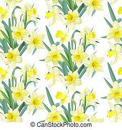 Seamless pattern yellow daffodils - Seamless pattern lush...