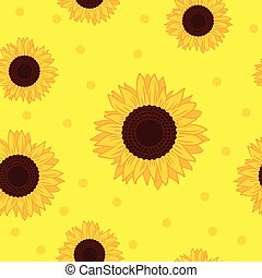 seamless pattern yellow sunflower background