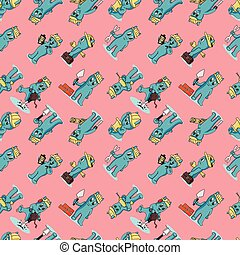 seamless pattern_2_illustration Doodle funny little men in the style of Chibi with horns in a variety of construction situations, the background is isolated