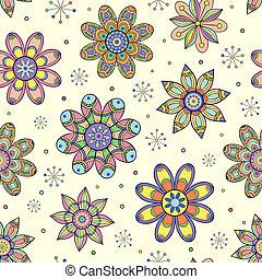 seamless, patternh, z, abstrakcyjny, kwiaty
