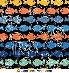 Seamless patterns .A series of strange animals.Crazy Cat...