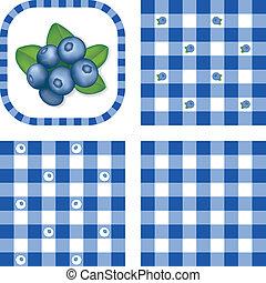 Seamless Patterns, Berries, Gingham - Fresh blueberries in...