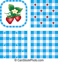 Seamless Patterns, Berries, Gingham