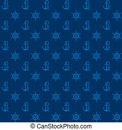 Seamless patterns, blue anchors and steering wheel