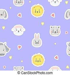 Seamless patterns. Childrens collection. Cute animal stickers - lion, dog and rabbit, hare and sheep, cat and horse on a blue background with hearts. For design, textiles and packaging. Vector