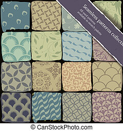 Seamless patterns collection. All used patterns available in swatch palette. Vector, EPS10