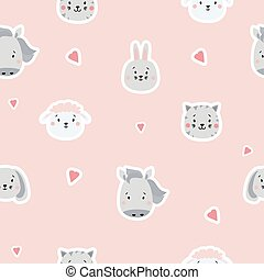 Seamless patterns. Cute animal stickers - dog, hare and sheep, cat and horse on a pink background with hearts. For design, textile, packaging and wallpaper. Vector illustration