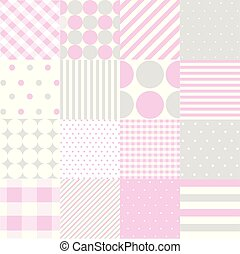 Seamless patterns for baby girl shower party. Set of cute pink backgrounds for invitation templates, scrapbook, cards.