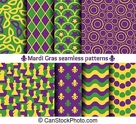 Seamless patterns for Mardi Gras