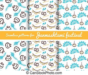 Seamless Patterns Janmashtami Festival - Collection of...